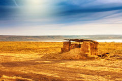 Home from the hay field. And lake Stock Images