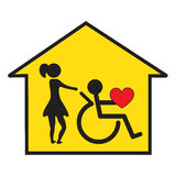 Home health care and support. Home care of disabled home-arrow symbol Stock Photo
