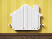 Home heater radiator in the shape house in living room. 3d concept Royalty Free Stock Images