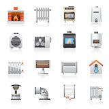 Home Heating appliances icons Royalty Free Stock Photography
