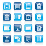 Home Heating appliances icons Stock Photography