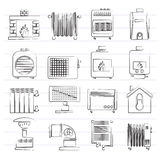 Home Heating appliances icons Stock Image