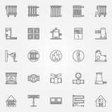 Home heating icons set Royalty Free Stock Photography