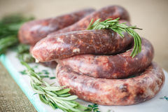 Home hepatic raw sausage with rosemary Stock Photography