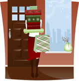 Home from Holiday Shopping. With arms full of red and green boxes and bag Vector Illustration
