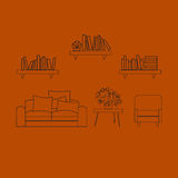 Home, hotel room interior with comfortable furniture outline vector illustration Stock Image