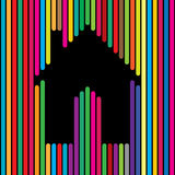 Home, house, apartment icon using colorful lines - concept vecto Royalty Free Stock Image