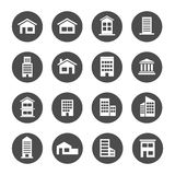 Home house building residence bank apartment townhome icon. Set Stock Image