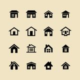 Home, house and cottage vector icons for web and app. Set of 16 icons representing house Vector Illustration. House and home simple symbols royalty free illustration