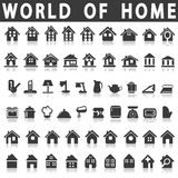Home and house. Icons of home and house on a white background with a shadow Royalty Free Stock Photo