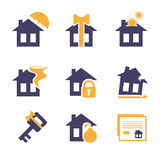 Home and House Insurance Risk Icons Stock Images