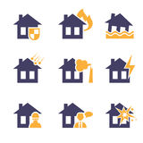 Home and House Insurance Risk Icons Royalty Free Stock Photo