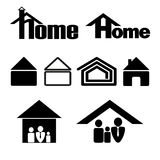 Vector house symbol icons set in black on a white background. House symbol icon set in black on a white background Stock Photography