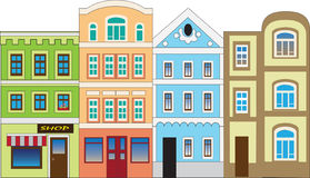 At home. Houses, city street. Illustration of vector for card or children illustration Stock Photography