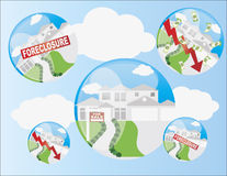 Home Housing Bubble Illustration. Real Estate Housing Bubble with Foreclosure and Home Value Arrow Illustration Royalty Free Stock Photo