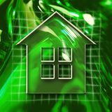 Home Icon. Green abstract graphic background with home icon Stock Images