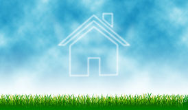 Home icon. With outdoor cloud - background royalty free illustration