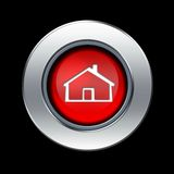 Home icon. Red home icon with metal border over black background Royalty Free Stock Photos