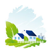 Home icon. Vector Icon with home tree bush and cityscape