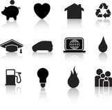 Home icon black silhouettes Stock Image