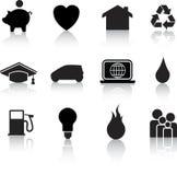 Home icon black silhouettes Stock Image