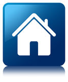 Home icon blue square button Royalty Free Stock Image