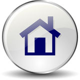 Home icon button. Glossy blue Home, icon buttonon white background Royalty Free Stock Photography