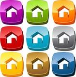 Home icon button set Stock Photos