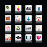 Home icon buttons. Vector icon set of  coloured buttons on black Royalty Free Stock Photography