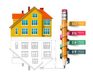 Home icon and drawing with a pencil. Vector infographics for real estate and construction Royalty Free Stock Images