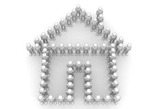 Home icon formed by men - Crowds Stock Images