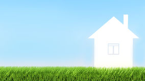 Home icon from grass background Stock Image