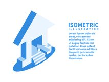 Home icon. Isometric template in flat 3D style. Vector illustration stock illustration