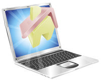 Home icon laptop concept Royalty Free Stock Photo