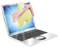 Home icon laptop concept Stock Photos