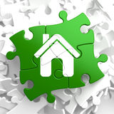 Home Icon On Green Puzzle. Royalty Free Stock Photography