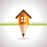 Home icon with pencil Stock Images
