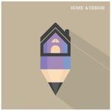 Home icon and pencil symbol in flat design style with long shado Fotografía de archivo libre de regalías