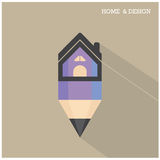 Home icon and pencil symbol in flat design style with long shado Royalty Free Stock Photography
