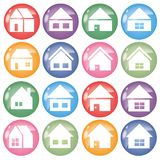 Home icon 16 set - color Round shape vector illustration