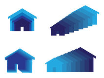 Home icon. Set of home or house icons in blue Stock Images