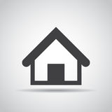 Home icon with shadow on a gray background. Vector illustration Stock Photography