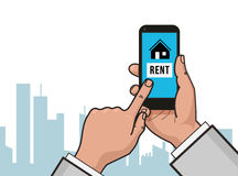 Home icon on smartphone screen. Hand hold smartphone, finger touch screen. Rent apartments, homes app. Modern concept. For web banner, web sites, infographics Stock Photos