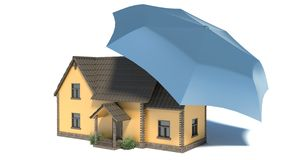 Home Icon with Umbrella - Safe House Concept Royalty Free Stock Images