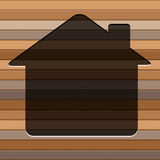 Home icon on the wooden wall background Stock Images