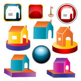 Home icons. Illustration of home icons on white background Royalty Free Stock Image