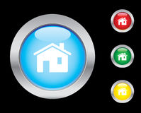 Home icons. Home glass button icons. Please check out my icons gallery Royalty Free Stock Image