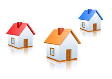 Home Icons. Vector house icons with different colored roofs Royalty Free Stock Image