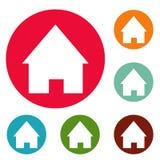 Home icons circle set. Isolated on white background Royalty Free Illustration