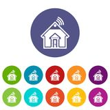 Home icons set vector color. Home icons color set vector for any web design on white background royalty free illustration